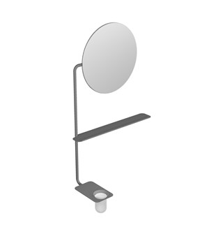 Tubular round mirror with shelf and glass holder