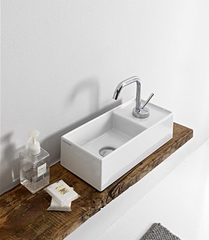 Lay-on washbasin, 41 x 19 Cm