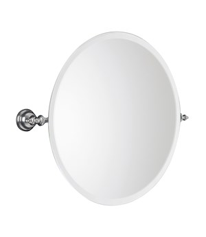 Tilting round bevelled mirror